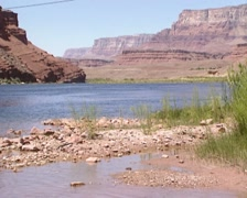 View of the Colorado River from the sandy beach at Lees Ferry Stock Footage