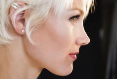 Stock Photo of Profile of blonde woman