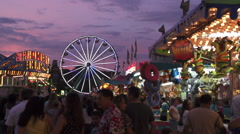 Midway at the County Fair at Sunset Stock Footage