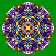 Circle lace ornament, round ornamental geometric doily pattern Stock Illustration