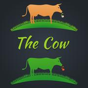 Label cow on the lawn Stock Illustration