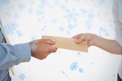 Closeup of hands holding bribe - stock illustration