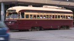 Classic PCC streetcar and tourists in Toronto taking pictures. Stock Footage