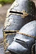 armour of the medieval knight. metal protection of the soldier against the we - stock photo
