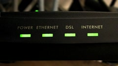 Close up of generic Internet Router / Modem - Green LEDs Stock Footage