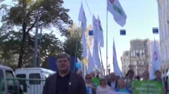 The leader of the party Yabloko Sergei Mitrokhin on the peace March in Moscow Stock Footage