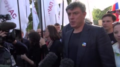 Opposition leader Boris Nemtsov on the peace March in Moscow Stock Footage