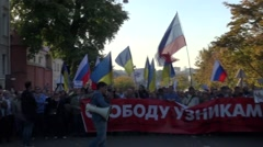 Column in support of political prisoners on the peace March in Moscow Stock Footage