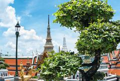 bangkok grand kings palace ancient temple in thailand. - stock photo