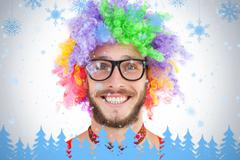 Geeky hipster in afro rainbow wig - stock illustration