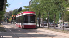 Toronto transit new modern streetcars first day in service Stock Footage