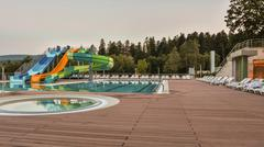 aqua park constructions in swimming pool - stock photo