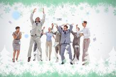Stock Illustration of Very happy people with money falling from the sky