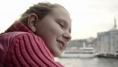Teenage girl looking at sea from boat  Stock Footage