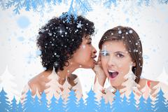 Teenage girl telling a surprising secret to a friend - stock illustration