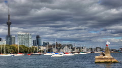 4K UltraHD A timelapse view of Toronto with the harbour in the foreground Stock Footage