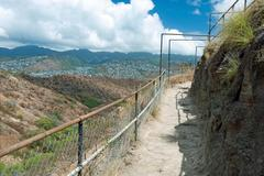 Diamond head state monument park trail close honolulu on oahu hawaii Stock Photos