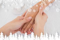Composite image of hands applying cream - stock illustration