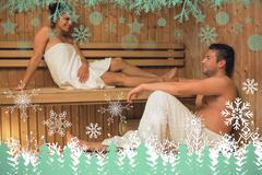 Happy couple relaxing in a sauna and chatting - stock illustration
