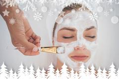 Beautiful blonde getting a facial treatment Stock Illustration