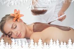 Beautiful blonde enjoying a chocolate beauty treatment - stock illustration