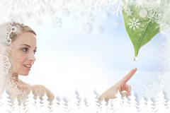 Stock Illustration of Blonde reaching out to dew drop falling from leaf