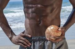 lean abs and coconut - stock photo