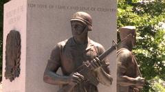 War Memorial Statue - Soldier Holding Gun Stock Footage
