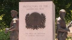War Memorial Statue - Protectors of the American Way - stock footage