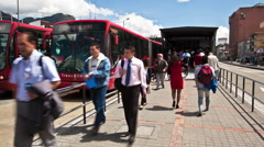Timelapse of Transmilenio Station at 72nd and Caracas Avenue in Bogota Stock Footage