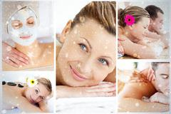 Collage of young people having relaxation treatments - stock illustration