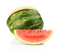 Studio shot of whole watermelon and slice of watermelon isolated on a white b Stock Photos
