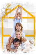Composite image of family having fun with yellow drawing house Stock Illustration