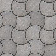 Stock Illustration of Gray Figured Pavement with Decorative Wave.