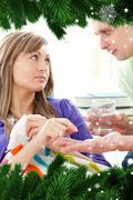 Stock Illustration of Loving boyfriend giving his sick girlfriend pills