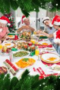 Composite image of happy family in santas hats enjoying christmas dinner - stock illustration