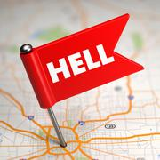 Hell - Small Flag on a Map Background. Stock Illustration
