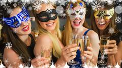 Composite image of smiling friends holding champagne glasses wearing masks - stock illustration