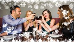 Composite image of happy friends drinking red wine in a bar - stock illustration