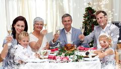 Composite image of family tusting in a christmas dinner with white wine - stock illustration