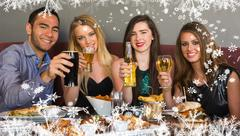 Composite image of friends having dinner together smiling at camera Stock Illustration