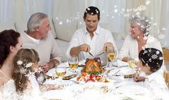 Composite image of father serving turkey to his family in a dinner - stock illustration