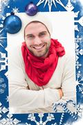 Composite image of attractive young man in warm clothes Stock Illustration