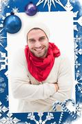 Composite image of attractive young man in warm clothes - stock illustration