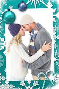 Composite image of attractive couple in winter fashion hugging Stock Illustration