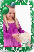 Stock Illustration of Composite image of portrait of a girl receiving a present