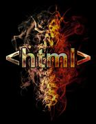 Stock Illustration of html, illustration of  number with chrome effects and red fire on black backg