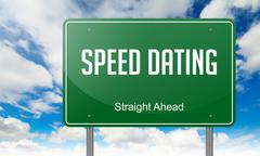 Speed Dating on  Highway Signpost. Stock Illustration