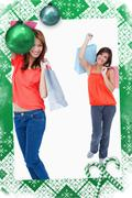 Stock Illustration of Teenage girl following her friend after shopping against a white background