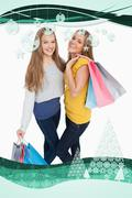 Two beautiful young women holding shopping bags - stock illustration